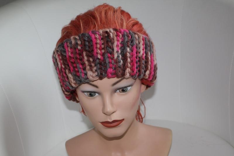 - gehäkeltes Stirnband in bunt aus Handstrickgarn, KU >57 cm            - gehäkeltes Stirnband in bunt aus Handstrickgarn, KU >57 cm
