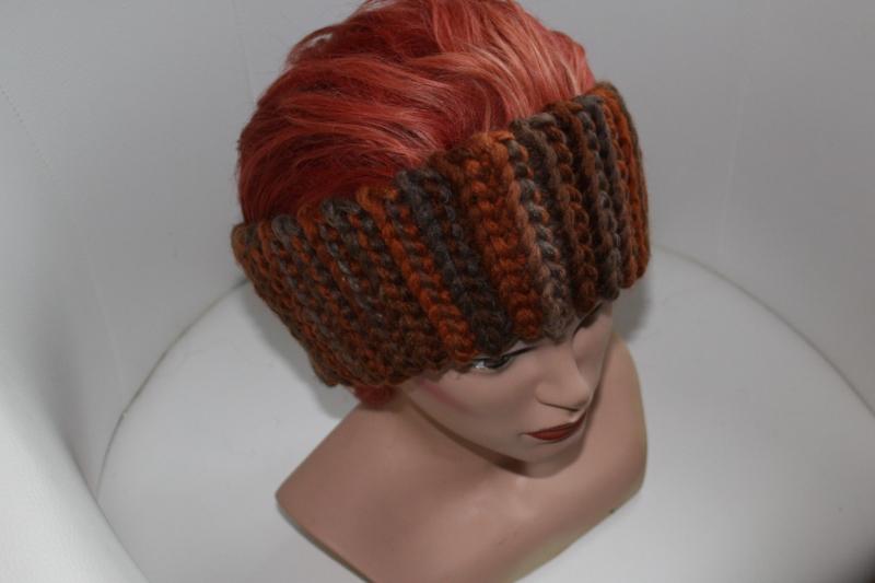 Kleinesbild - gehäkeltes Stirnband in Herbsttönen aus Handstrickgarn, KU >57 cm