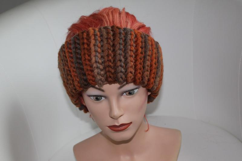 - gehäkeltes Stirnband in Herbsttönen aus Handstrickgarn, KU >57 cm             - gehäkeltes Stirnband in Herbsttönen aus Handstrickgarn, KU >57 cm