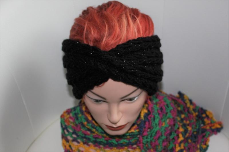 - handgestricktes Turban-/Twist-Stirnband in schwarz mit Glitzer und Muster, KU ca. 54-58 cm              - handgestricktes Turban-/Twist-Stirnband in schwarz mit Glitzer und Muster, KU ca. 54-58 cm