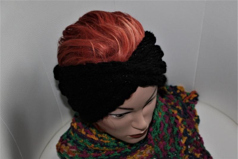 Kleinesbild - handgestricktes Turban-/Twist-Stirnband in schwarz mit Glitzer und Muster, KU ca. 54-58 cm