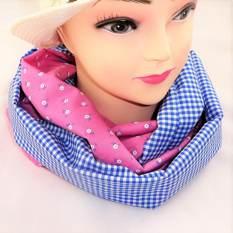 - Schlauchschal, rosa und hellblau aus Dirndlstoff - Schlauchschal, rosa und hellblau aus Dirndlstoff