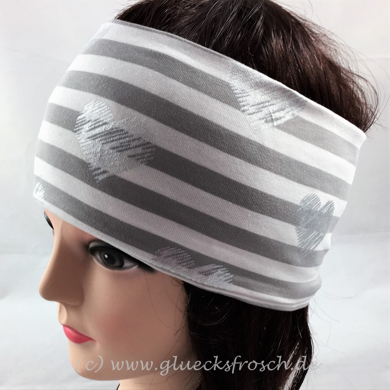 Kleinesbild - Stirnband weiß und grau mit silberfarbenen Herzen aus Jersey