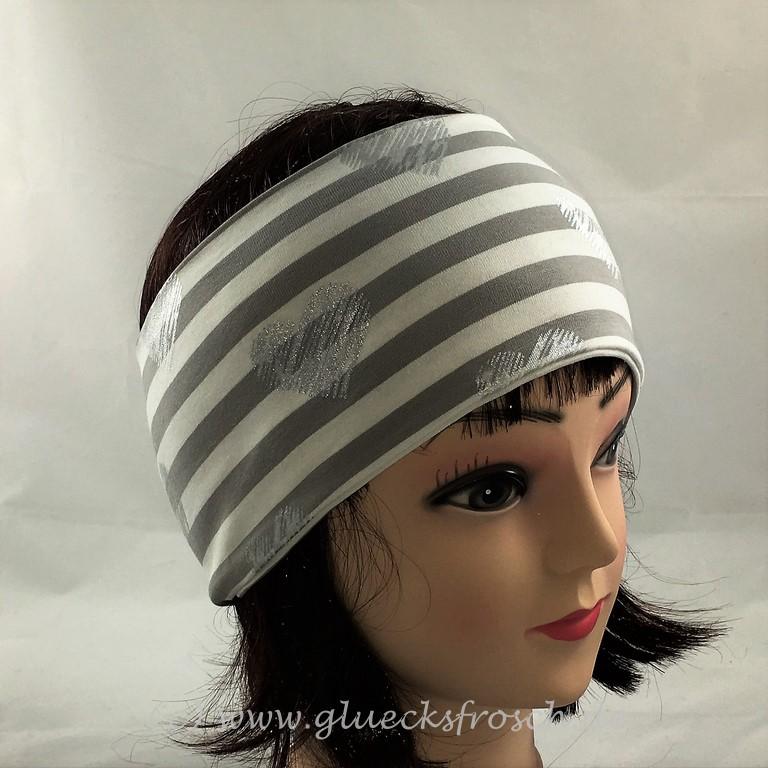 - Stirnband weiß und grau mit silberfarbenen Herzen aus Jersey  - Stirnband weiß und grau mit silberfarbenen Herzen aus Jersey