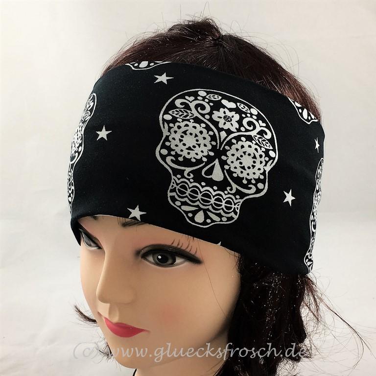 Kleinesbild - Stirnband mit weißen Skulls, schwarzer Jersey, Fesivalstirnband