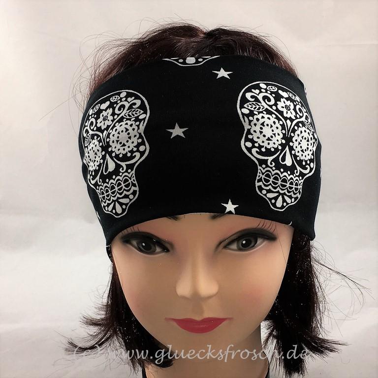 - Stirnband mit weißen Skulls, schwarzer Jersey, Fesivalstirnband  - Stirnband mit weißen Skulls, schwarzer Jersey, Fesivalstirnband