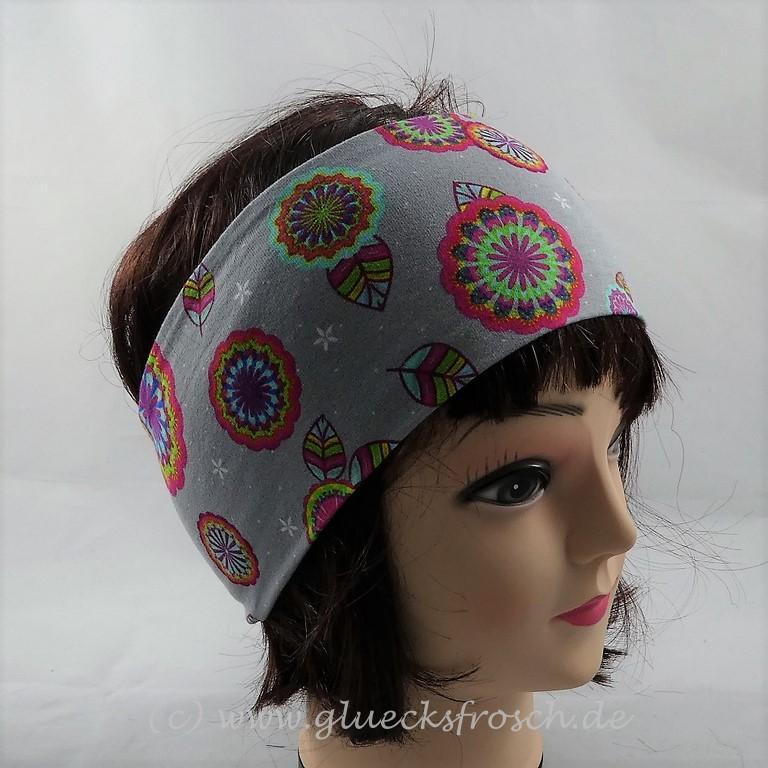 Kleinesbild - Stirnband, grau mit bunten Mandalas aus Jersey