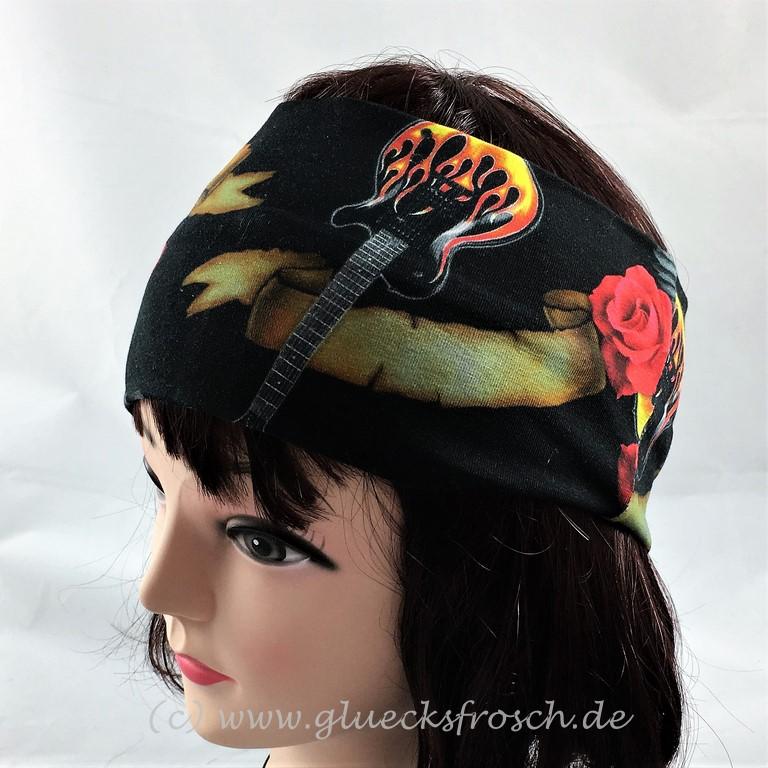 Kleinesbild - Stirnband, schwarz mit Totenkopf, Rosen, Gitarren und Flügel aus Jersey