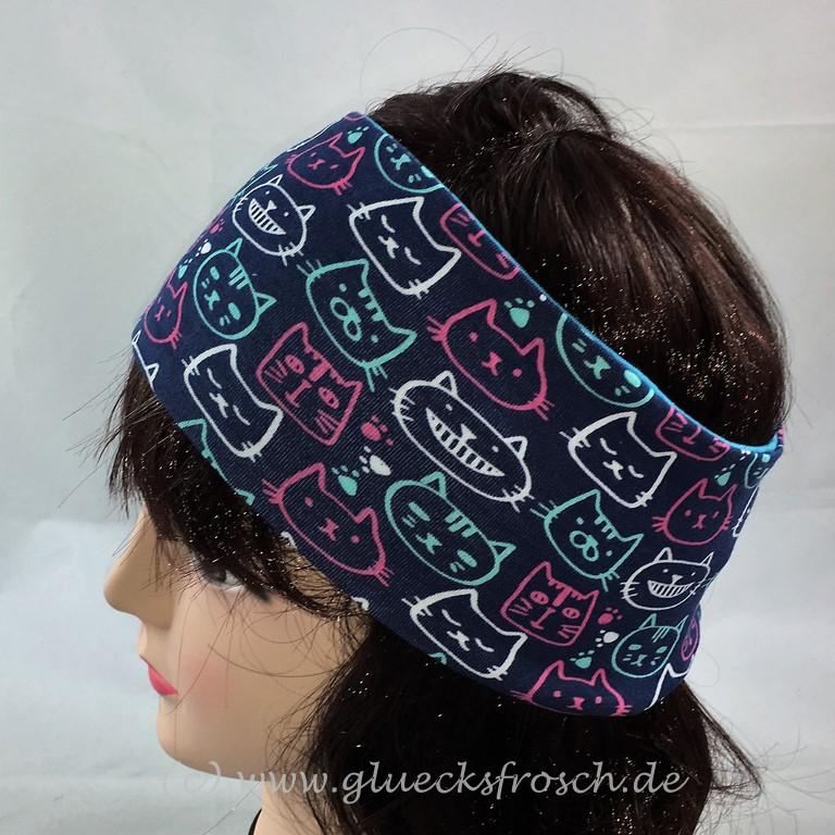 Kleinesbild - Stirnband, blau und türkis zum Wenden mit bunten Katzen aus Jersey