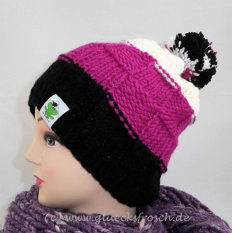 Kleinesbild - Bommelmütze in schwarz, pink und weiß