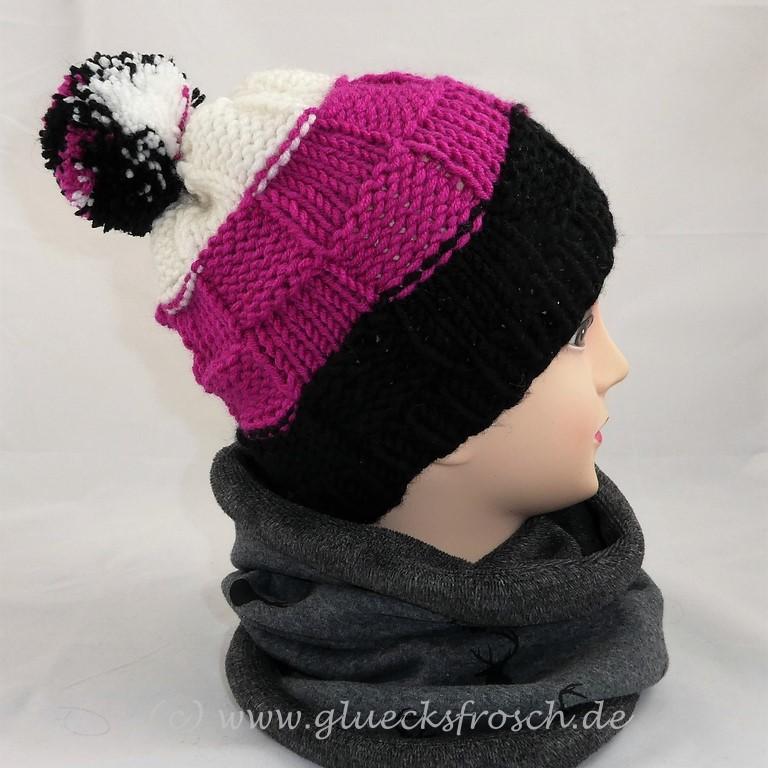 - Bommelmütze in schwarz, pink und weiß   - Bommelmütze in schwarz, pink und weiß