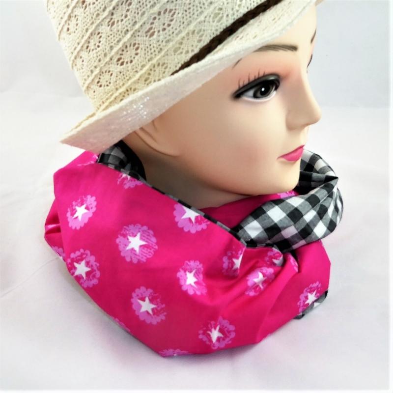 Kleinesbild - Schlauchschal pink mit weißen Sternen und schwarzen Karos