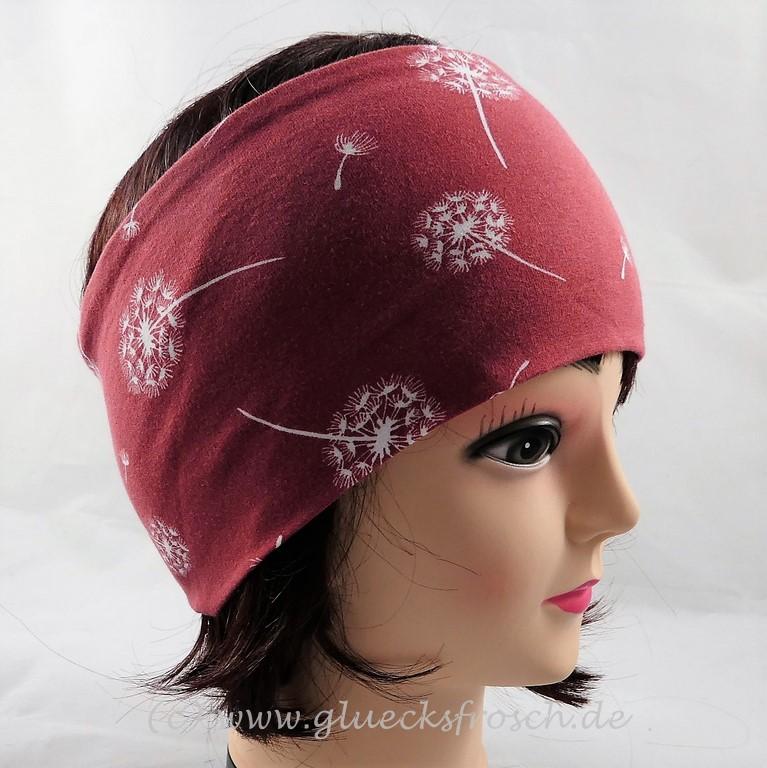 - Stirnband, rostrot mit Pusteblumen, Löwenzahn - Stirnband, rostrot mit Pusteblumen, Löwenzahn