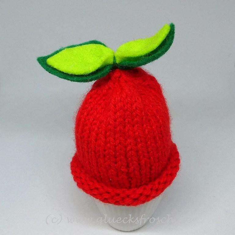 Kleinesbild - Eierwärmer, handgestrickt, Apfel, rot
