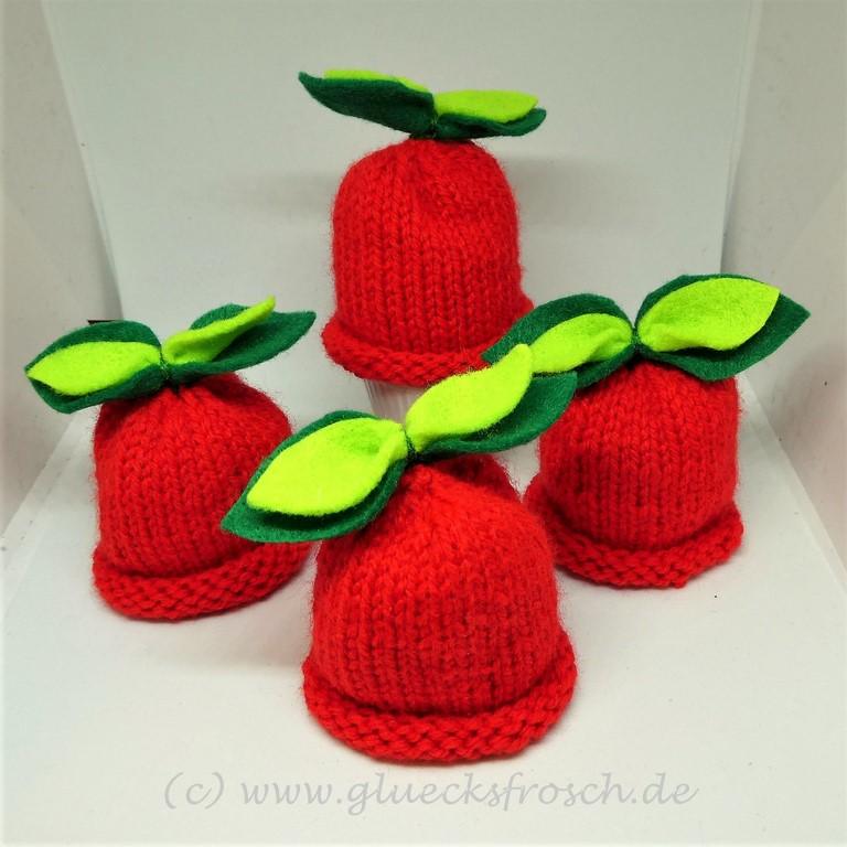 - Eierwärmer, handgestrickt, Apfel, rot  - Eierwärmer, handgestrickt, Apfel, rot