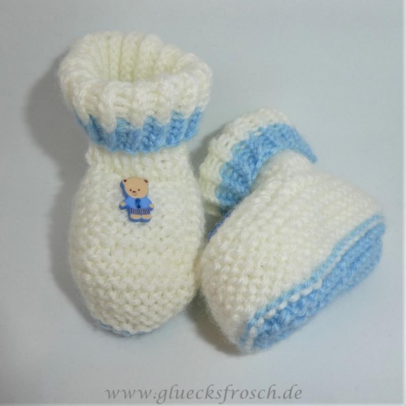 Kleinesbild - Babyschuhe, weiß mit hellblau und kleinem Teddybär, Fußlänge 9 cm