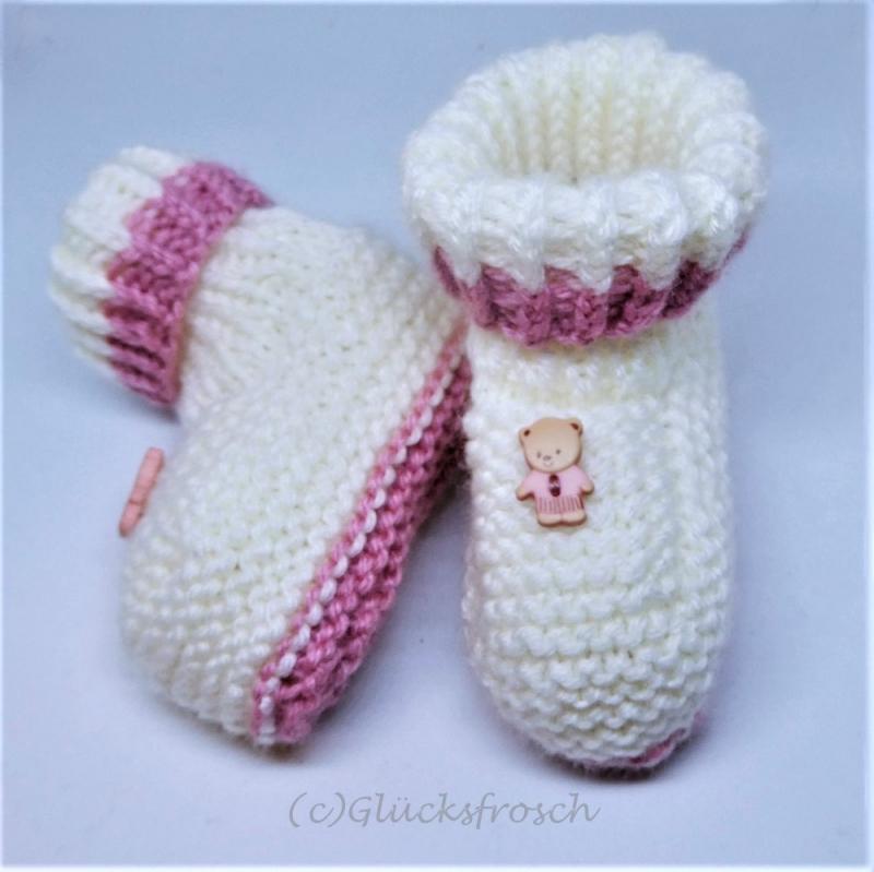 - Babyschuhe, weiß mit rosa und kleinem Teddybär, Fußlänge 9 cm  - Babyschuhe, weiß mit rosa und kleinem Teddybär, Fußlänge 9 cm