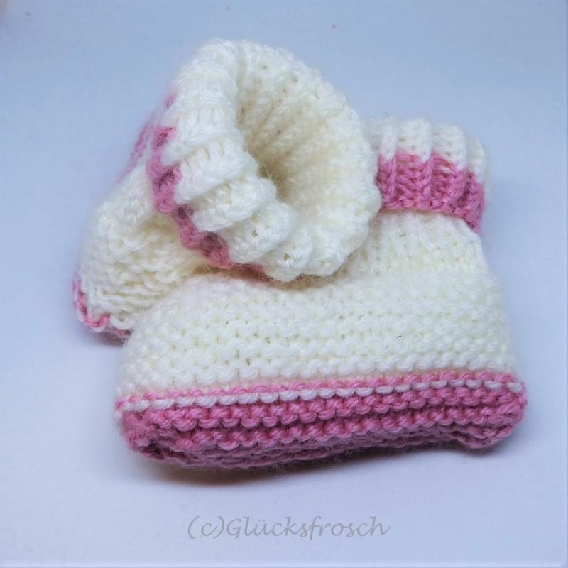 Kleinesbild - Babyschuhe, weiß mit rosa und kleinem Teddybär, Fußlänge 9 cm