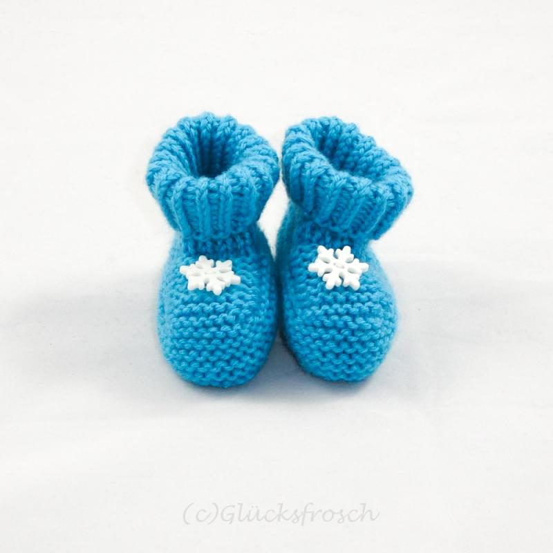 - Babyschuhe, Babystiefel, Schneekristalle, türkis, 8 cm Fußsohlenlänge, aus weicher Babywolle - Babyschuhe, Babystiefel, Schneekristalle, türkis, 8 cm Fußsohlenlänge, aus weicher Babywolle
