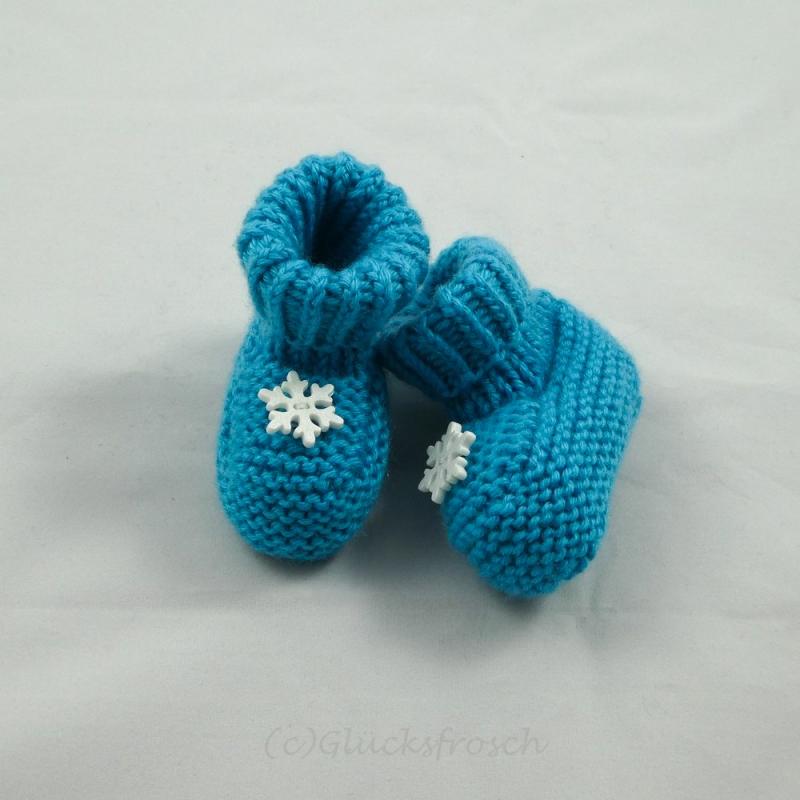 Kleinesbild - Babyschuhe, Babystiefel, Schneekristalle, türkis, 8 cm Fußsohlenlänge, aus weicher Babywolle