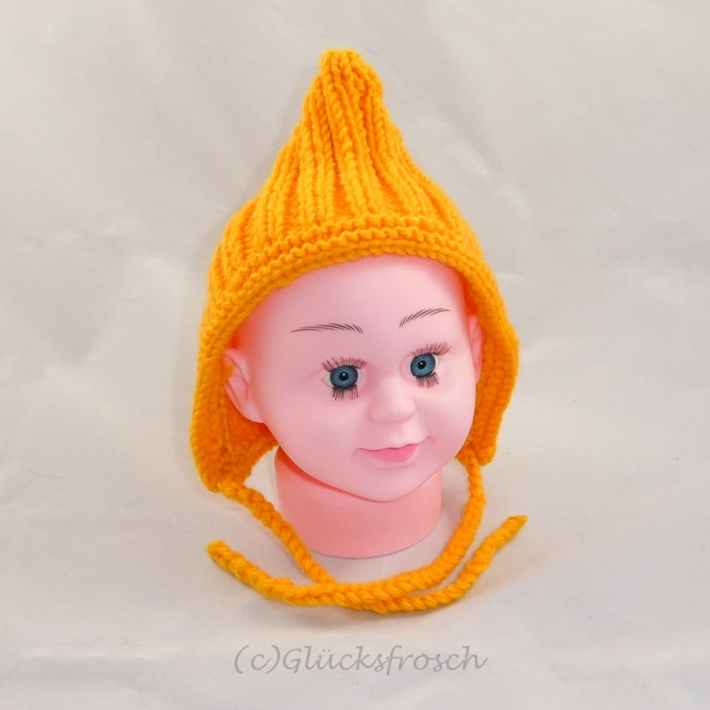 Kleinesbild - Zwergenmütze, Babymütze in sonnigem gelb für ein ca. 3 Monate altes Baby