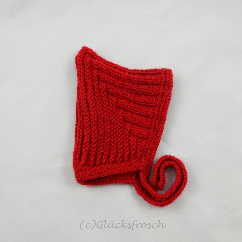 Kleinesbild - Zwergenmütze, Babymütze in rot für ein neugeborenes Baby