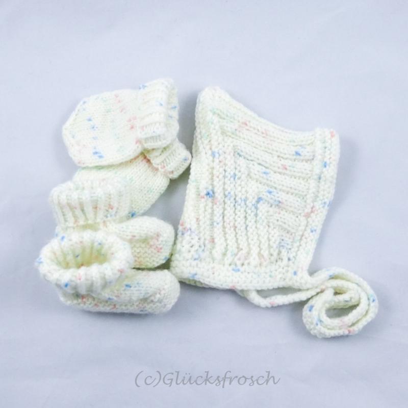 Kleinesbild - Zwergenmütze, Babymütze für ein Neugeborenes in weiß meliert