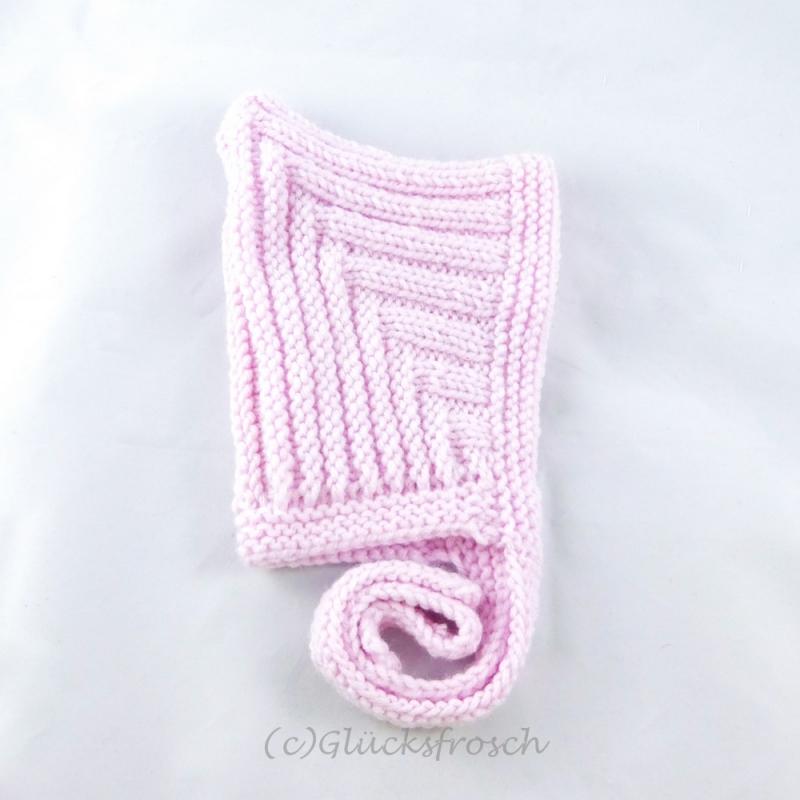 - Zwergenmütze, Babymütze in zartem rosa für ein ca. 3 Monate altes Baby  - Zwergenmütze, Babymütze in zartem rosa für ein ca. 3 Monate altes Baby