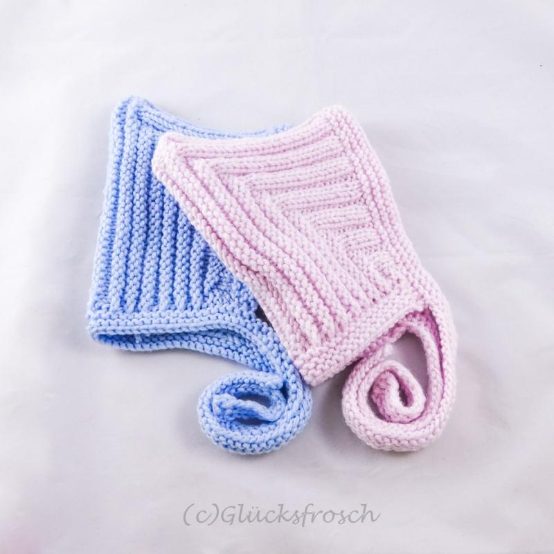 Kleinesbild - Zwergenmütze, Babymütze in zartem rosa für ein ca. 3 Monate altes Baby