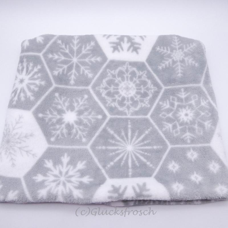 Kleinesbild - Schlauchschal, Schalkragen in grau und weiß mit Schneeflocken, Schneekristalle, Sterne