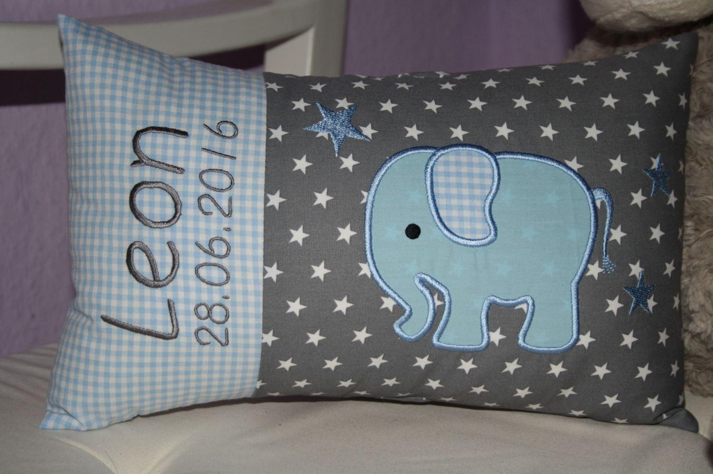 - ♥ Kissen ★ Elefant ★ mit Namen bestickt + Inlett ♥ (Kopie id: 17509) - ♥ Kissen ★ Elefant ★ mit Namen bestickt + Inlett ♥ (Kopie id: 17509)