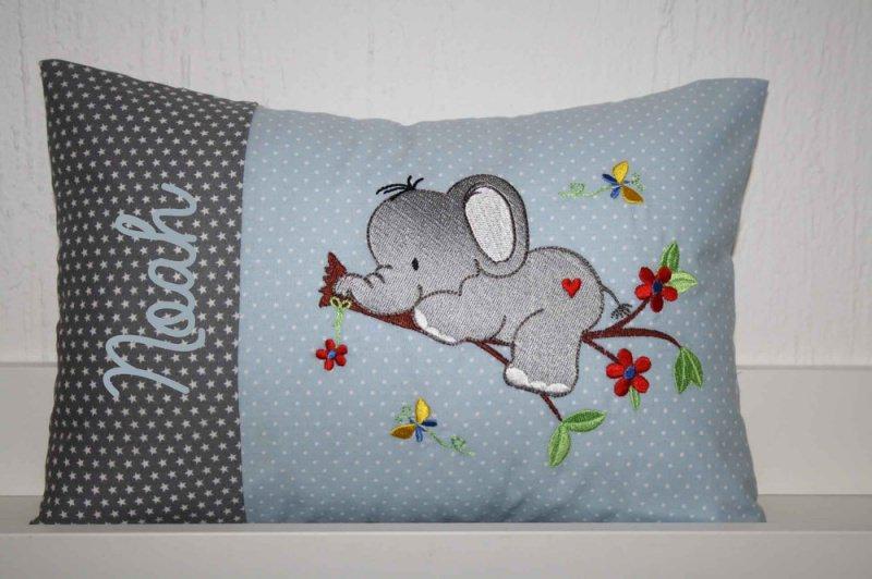 - ♥ Kissen ★ Elefant auf dem Ast ★ mit Namen bestickt und Inlett ♥ - ♥ Kissen ★ Elefant auf dem Ast ★ mit Namen bestickt und Inlett ♥