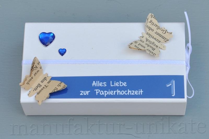1 Hochzeitstag Papierhochzeit Geschenkverpackung Schachtel Blau