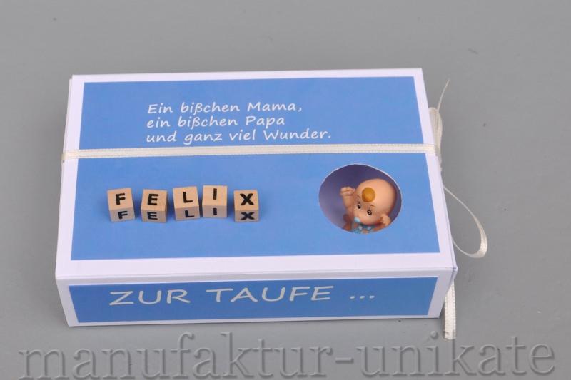 Schachtel Zur Taufe Mit Namen Vom Kind Geldgeschenk Spruch Hellblau Junge
