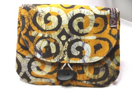 - Kleine Tasche im afrikanischen Style in Gelb, Braun und Weiß, handgemacht - Kleine Tasche im afrikanischen Style in Gelb, Braun und Weiß, handgemacht