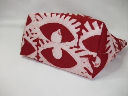 Kleinesbild - Kleine genähte Tasche aus afrikanischem Batikstoff in Rot und Weiß