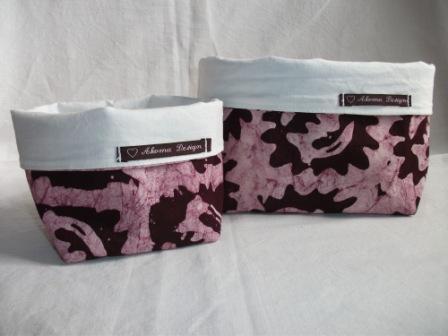 - Körbchen Set genäht aus afrikanischem Batikstoff in Violett - Körbchen Set genäht aus afrikanischem Batikstoff in Violett