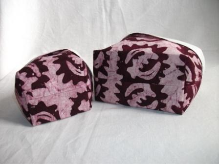 Kleinesbild - Körbchen Set genäht aus afrikanischem Batikstoff in Violett