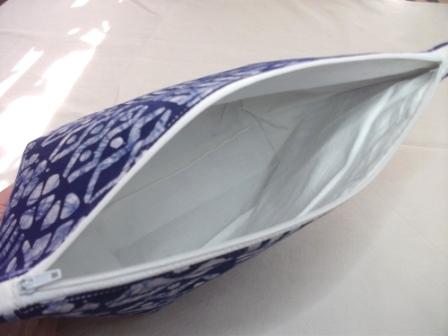 Kleinesbild - Größere Tasche genäht aus typisch afrikanischem Batikstoff in Blau und Weiß kaufen