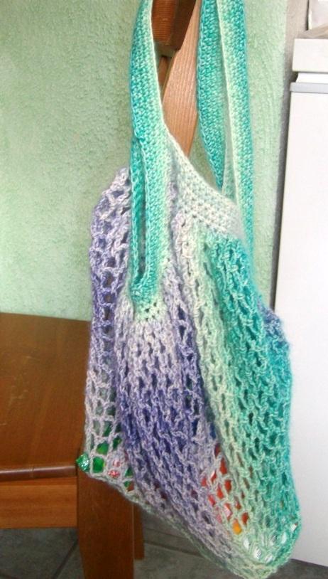 Kleinesbild - Einkaufsnetz tolle Farben, grün-blau-lilatöne meliert, nachhaltig