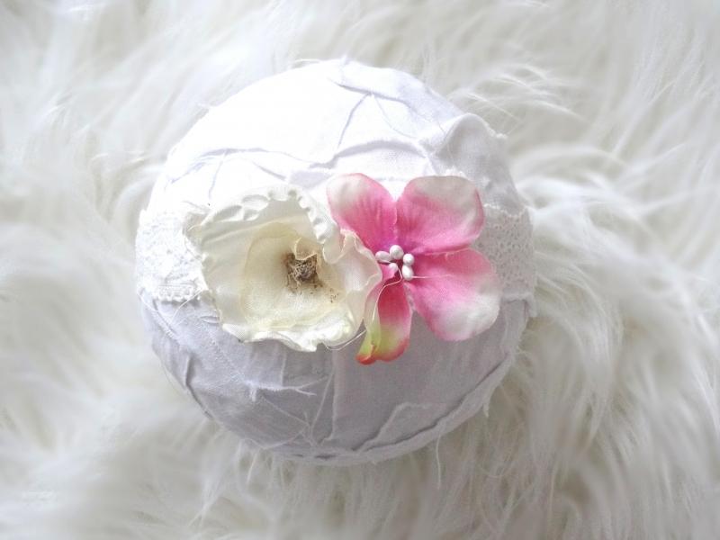 Baby Haarband Stirnband Photoshooting ab 0Mon Blume Rose Haarschmuck Weiß Taufe