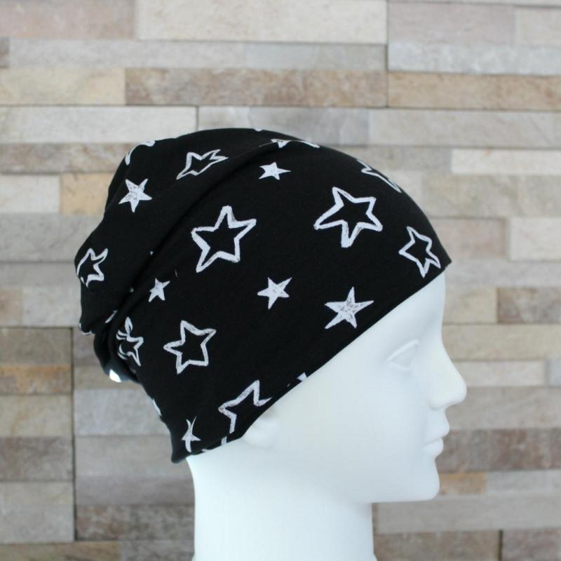 Kleinesbild - Babymütze / Beanie aus Jersey / Mütze /  Sterne schwarz, weiß / Halalino