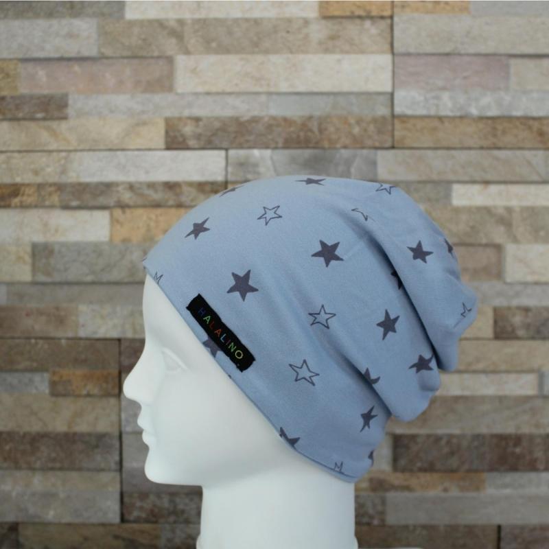 - Babymütze / Beanie aus Jersey / Mütze /  Sterne hellblau, grau / Halalino   - Babymütze / Beanie aus Jersey / Mütze /  Sterne hellblau, grau / Halalino