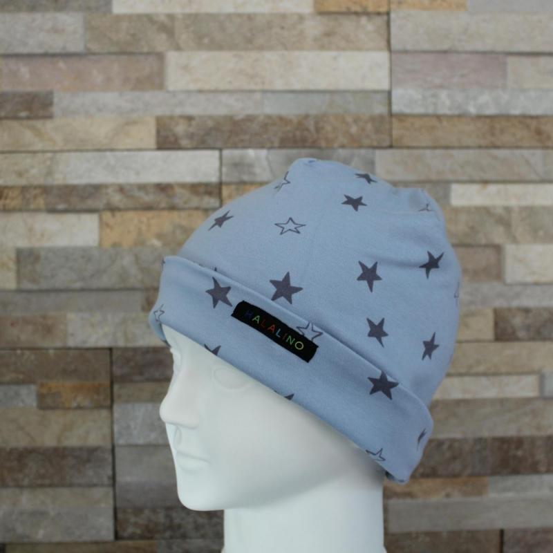 Kleinesbild - Babymütze / Beanie aus Jersey / Mütze /  Sterne hellblau, grau / Halalino