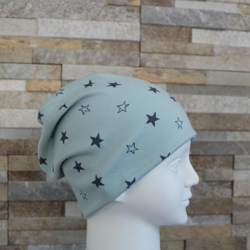 Kleinesbild - Babymütze / Beanie aus Jersey / Mütze /  Sterne mint, grau / Halalino