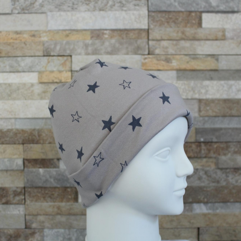 Kleinesbild - Babymütze / Beanie aus Jersey / Mütze /  Sterne taupe, grau / Halalino