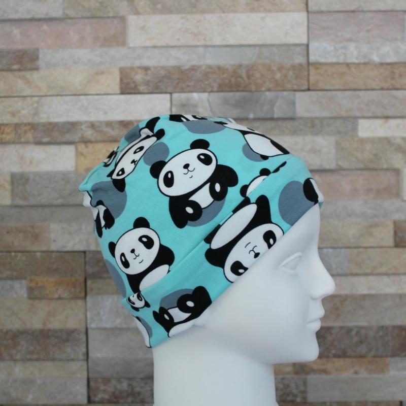 Kleinesbild - Babymütze / Beanie aus Jersey / Mütze /  Panda mint / Halalino