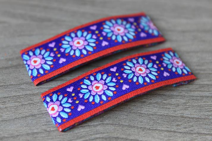 Kleinesbild - Haarspangenset 2 Stück Haarspangen Fall Flower, rot, lila, Blumen, Blümchen