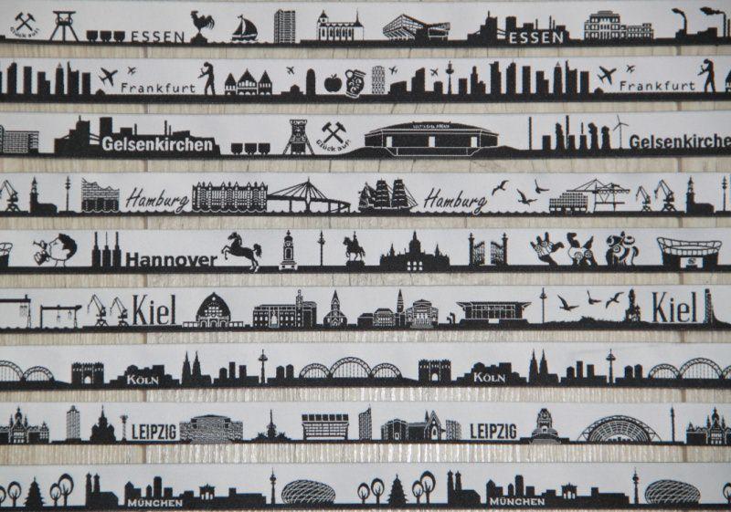 Kleinesbild - Schlüsselanhänger Gurt Lang, Webband nach Wahl, Skyline aus 50 Städten nach Wahl, Hosentaschen- oder Halsvariante