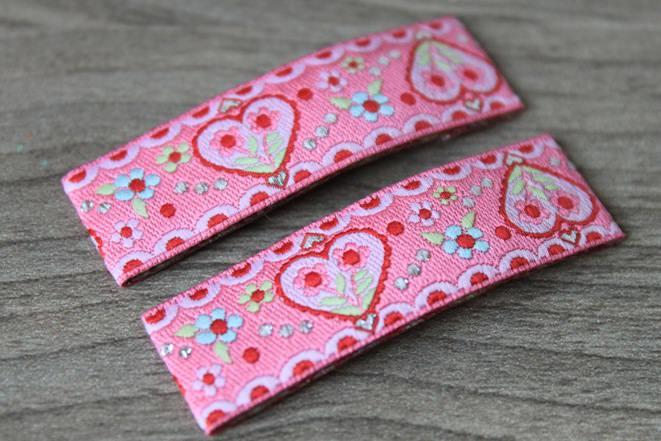 - Haarspangenset 2 Stück Haarspangen Flower Love Herzchen rosa - Haarspangenset 2 Stück Haarspangen Flower Love Herzchen rosa